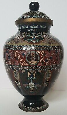 Outstanding Large Antique Japanese Cloisonne Melon Shaped Finest Quality Jar