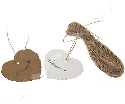 100pcs  Kraft Heart Shaped Gift/Favour Place Card Tag With 20m String 2 Color