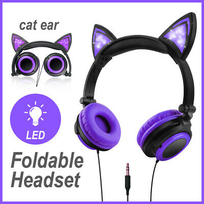 Girls Earphone Cat Ear Headphones Foldable Headset LED Glowing Light 3.5mm Gifts