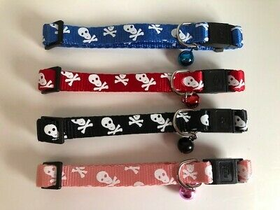 Skull and Crossbones Cat Collar (safety) with Bell - Different Colours