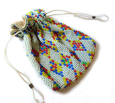 Vintage 60's Handbag Candy Coloured Plastic Beaded Drawstring Purse Bag Pouch