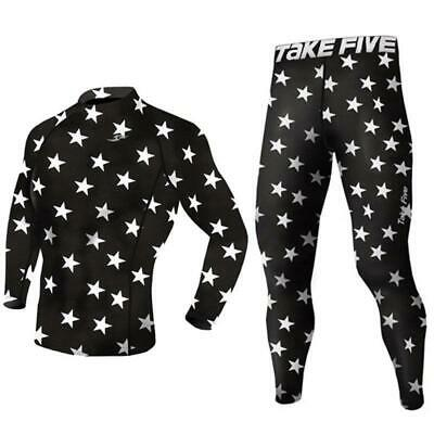 Youth Black Star Sports Compression Base Layer Long Sleeve Top Pants Set Take 5