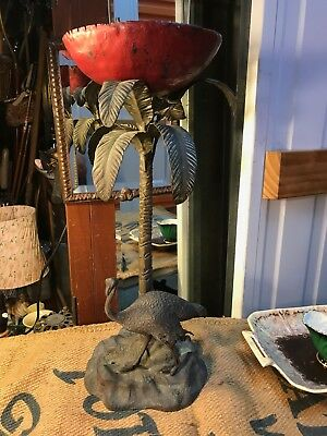 Rare Antique Art Nouveau Solid Bronze Ostrich & Palm Tree Centrepiece Figures