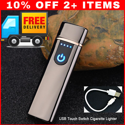 Electric Lighter Usb Rechargable Windproof Flameless Finger Print Gentle Touch