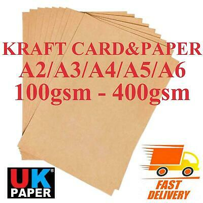 A6 A5 A4 A3 A2 100Gsm - 300Gsm Brown Kraft Card Craft Eco Recycled Printer Paper