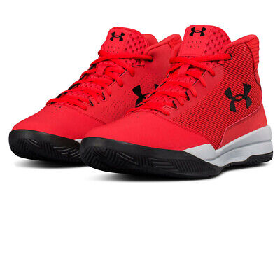 Under Armour Mens UA Jet Mid Basketball Shoe Red Sports Breathable Lightweight