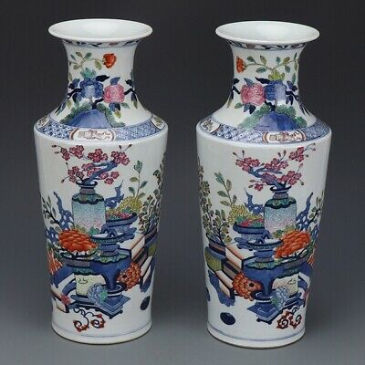 Antique Pair Of Chinese Blue And White Famille Rose Porcelain Guanyin Vases