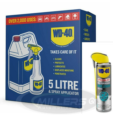 WD40 5L 5 Litre With Applicator Spray Bottle & WD40 White Lithium Grease 250ML