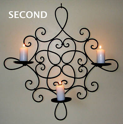 Wrought Iron Candle Holder Rustic Country Wall 3 cup Square Bl Min/Second CW29