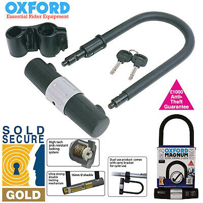 Oxford Magnum Ultra Strong Sold Secure Gold Rated Bike U Lock - Large 18 x 34cm