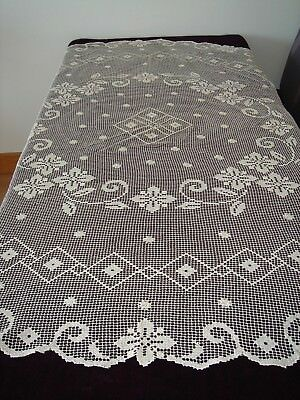 Beautiful Crocheted Beige Cotton Round Tablecloth Hand Made in Croatia 65 Inches