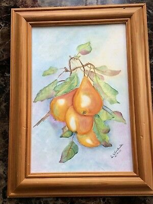 Vintage framed hand painted pears on tile picture signed