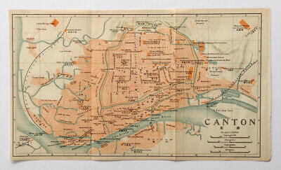 Original lithographic antique map of Canton, China, circa 1915