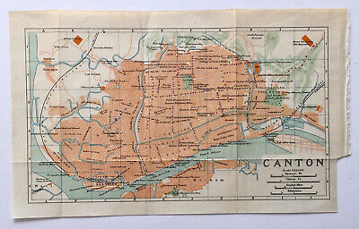 Original lithographic antique map of Canton, China, circa 1923