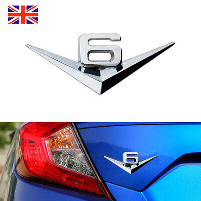 V6 Badge 3D Sticker Decal Emblems Silver Chrome Mirror Alloy fit for BMW Audi