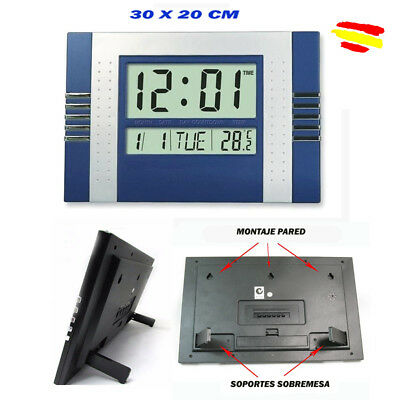 RELOJ DIGITAL para PARED LED COLGAR o sobremesa  30 x 20 cm LCD temperatura