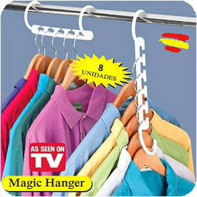8X Magic hanger 8 PERCHAS multiples para armario organizador Mas espacio Ropa TV