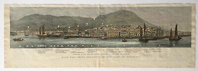 Rare antique woodcut engraving of Hong Kong, 1877 (The Graphic)
