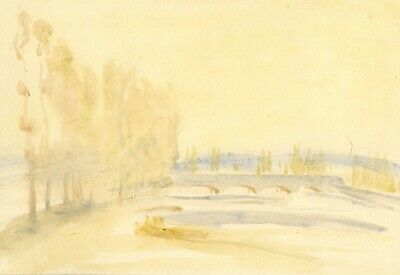 Vernon Wethered, Bridge over River, Italy - early 20th-century watercolour