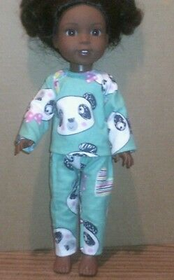 "14.5"" Doll Clothes-fits American Girl Wellie Wishers-Top/Pants-Pajamas-Panda"
