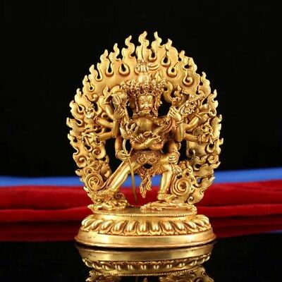 Chinese Tibetan Buddhism old copper hand-made gold-plated ten rounds King Kong R