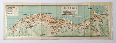 Original lithographic antique map of Hong Kong, circa 1915