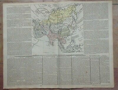 ASIA DATED 1827 BY VELTEN LARGE ANTIQUE ENGRAVED MAP ORIGINAL COLOR (54 x 70 CM)