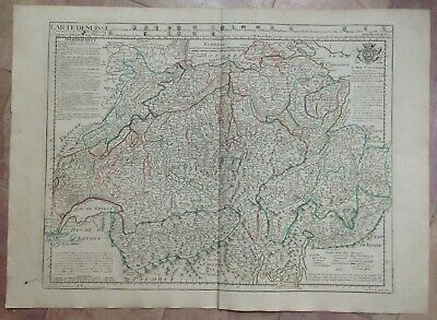 SWISS 1780 XVIIIe CENTURY GUILLAUME DELISLE LARGE ANTIQUE ENGRAVED MAP (55X76 CM