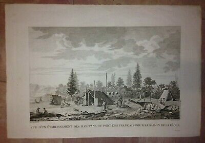 ALASKA FISHING IN PORT DES FRANCAIS 1797 LA PEROUSE NICE ENGRAVED VIEW (51x34)