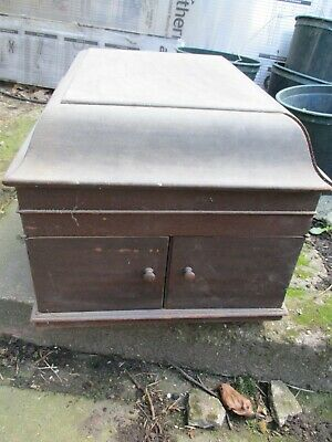 Old HMV wooden wind up gramophone box in need of restoration