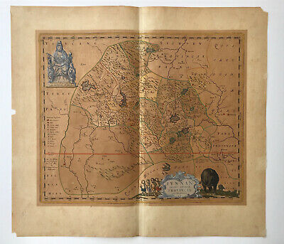 Original Antique Map - Blaeu Iunnan (Yunnan) Province, China, 1655