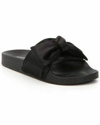 e1ac285d9 Steve Madden Womens Sandals Silky Black Satin Slides with Bow Choose Your  Size