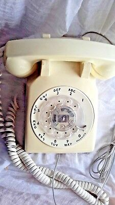 1960s VINTAGE DESK TOP ROTARY TELEPHONE CREAM 500DM WESTERN ELECTRIC WORKING