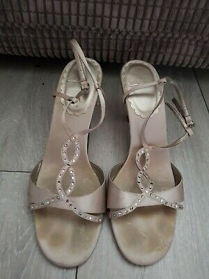 092ec009400 Ladies nude Strappy Shoes Size 6 Diamante Detail Kitten Heel By Clarks