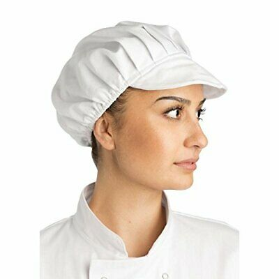 Plain White Catering Hat Food Hygiene Snood Cap Chef Bakers Bouffant Peaked Cap