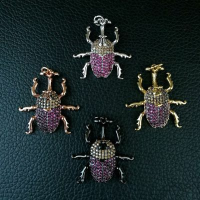1pc 27x28mm gold plated Cz micro curculio Charm  Pendant  DIY Jewelry Findings