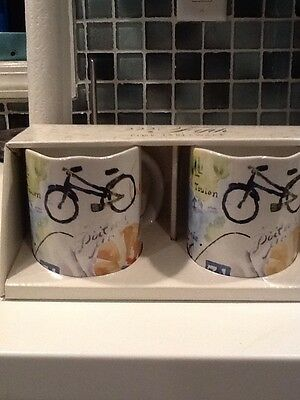 222Fifth Paris Travels New In Box 2 Coffee Mugs