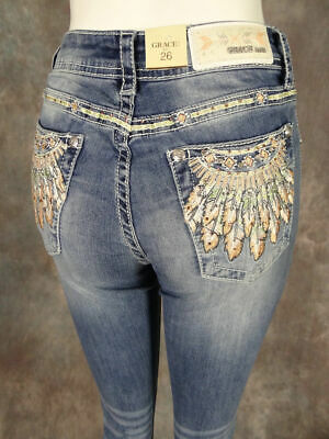 205afe10 Womens GRACE IN LA Easy Fit Boot Cut Jeans Embroidery Native Feathers &  Crystals