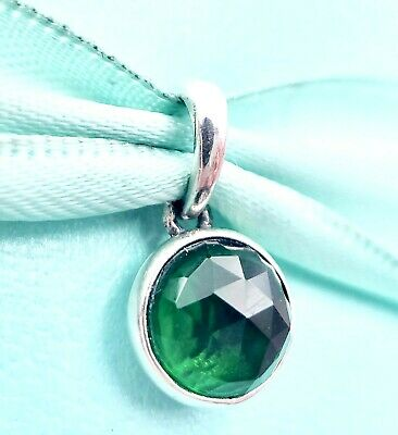 64f1e934a Authentic Pandora Silver 925 ALE May Droplet Pendant Green Crystal Charm  390396