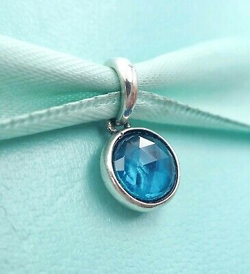 503887b7d Authentic Pandora Silver 390396NLB December Birthday Droplet Blue Crystal  Charm