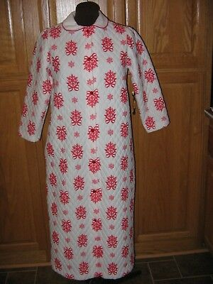 Vintage Christmas Robe Girls Sz 14 Her Majesty Red & White Snowflakes Ribbons