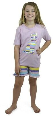 Girls 100% Cotton Short Pyjama PJs Set Size Age 7-8/9-10/11-12/13 Yrs