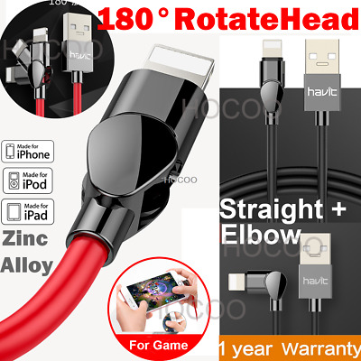 180° Elbow Reversible L Shape Fast Charging Lightning Charger Usb Cable f iPhone