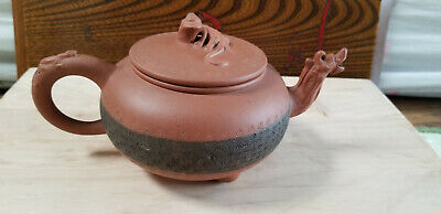 Antique Chinese Yixing Zisha Clay Teapot With Dragon Motif And Three Legs