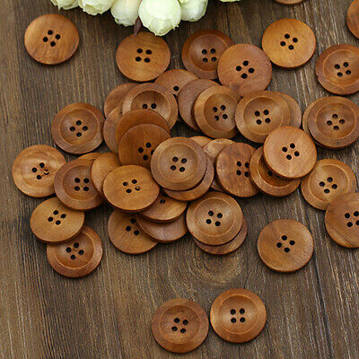 50 Pcs 4 Holes Round Wood Sewing Buttons DIY Craft Scrapbooking 25mm USA