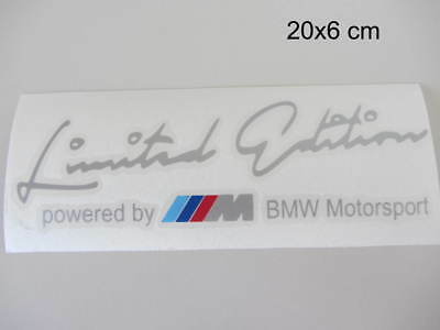 BMW Limited Edition powered By BMW Motorsport Aufkleber Sport Sticker Silber.