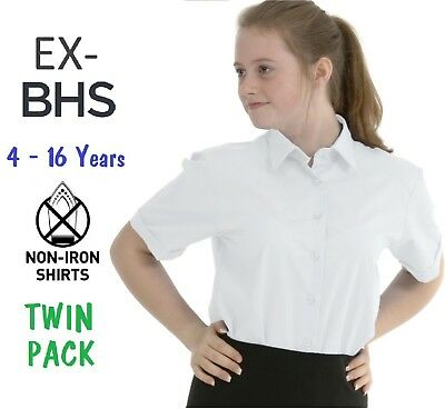 Ex BHS Girls School Blouse Shirt Twin-Pack White Sky Blue Short Sleeve Ages 4-16
