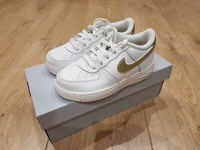 purchase cheap 0a4a1 eafc7 New - Nike Air Force 1 Td Trainers - Toddler Kids Baby - White   Gold