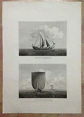 BOATS OF JAPAN 1797 LA PEROUSE LARGE ANTIQUE ENGRAVED VIEW 18TH CENTURY (40x56)
