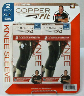2 PACK Copper Fit Knee Sleeve Infused Compression Garment Unisex Size XL